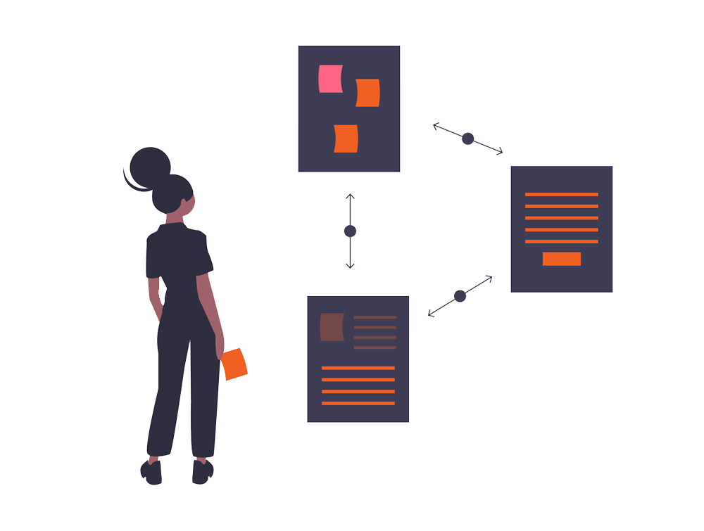 person looking at different tasks notes